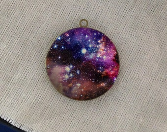 Nebula Outer Space Galaxy round antique bronze locket 32mm (LD181)