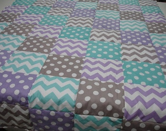 Lavender Aqua Gray  Chevron and Dots  3 Piece Baby Crib Bedding Set MADE TO ORDER