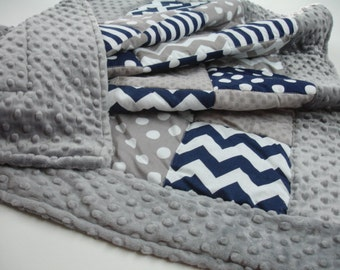 Chevrons Stripes and Dots in Navy and Gray Minky Blanket with Border 32 x 50 READY TO SHIP On Sale