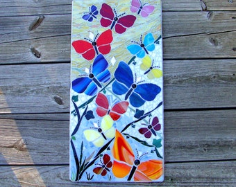 Butterfly Garden Original Mosaic Art Wall Hanging