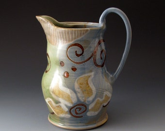 Handmade Clay Water Pitcher with Flower Motif, Ceramic Pitcher, Pouring Vessel, Pitchers