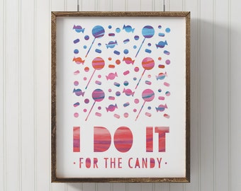 Fitness motivation, Candy print, Funny kids wall art, Fitness poster, playroom art, digital print, inspirational fitness print, toddler room