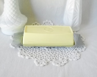Vintage Butter Dish Stainless Steel Plastic Mid Century Butter Dish