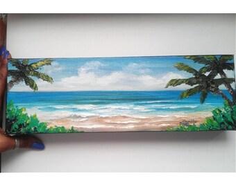 "Oil Painting Seascape Beach Tropical Impasto 4"" x 12"" READY to SHIP"