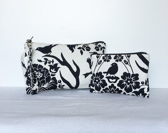 SALE - set of 2 - Square Wristlet Zipper Pouch & Little Zipper Pouch - Antler Damask in Black