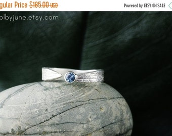 Valentines Day Sale Sterling Silver Sapphire Leaf Ring   Stacking Ring   Nature Inspired Ring