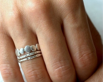 Valentines Day Sale Sterling Silver Pebble and Raw Ring Set   Stacking Set   Nature Inspired Rings