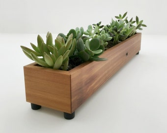 Modern Wood Planter Box, Reclaimed Wood Window Box.  Long Wood Succulent Planter For Window Ledge