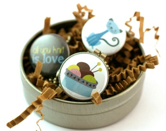 Knitting Locket Necklace, Personalized Gift for Knitter, All You Knit is Love, Magnetic, 3 Lockets in 1, Holds Picture, Cat Lover, Recycled