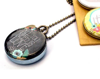 Valentines Day Gift for Her, Inspirational Locket, All You Need is Love, Love Locket, Gift for Wife, Girlfriend Gift, 3 Lockets in 1, Custom
