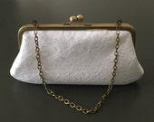 White Cotton Lace Flower Clutch with Antique Brass Frame and Chain.