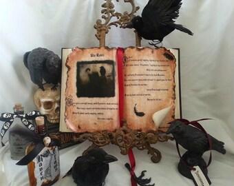 Edgar Allen POE spell book prop the Raven halloween poet poem claw