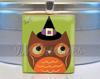 60% OFF CLEARANCE Scrabble tile pendant  - Wicked Halloween Owl (HAL131)