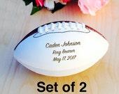 Ring Bearer Gift, Engraved Football, Mini Football, Groomsmen, Engraved Gift, Christmas Gift, Wedding Gift, Set of 2 Balls, Design #3