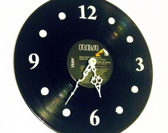 """Clock, Record Clock, Vinyl Record Clock, Wall Clock, Kenny Rogers Record, Recycled, 12"""" Record, Battery & Wall Hanger included, Item #76"""