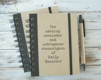 25% Off Sale! Personalized Journal, Personalized Girlfriend Gift, Notebook, Blank Book, Birthday Gift, Best Friend Gift, Amazing Escapades