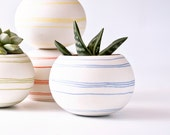 Ceramic mini planter for cactus, succulent or air plant. colorful porcelain planter (blue stripes). . Crafted by Wapa Studio.