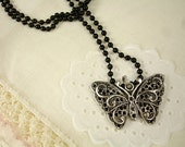 Butterfly Pendant with a Black Ball Chain Necklace