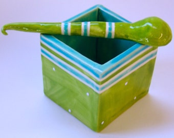 whimsical lime & turquoise pottery Salt Cellar colorful striped ceramic salt dish w/ handmade ceramic spoon