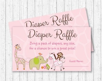 Pink Jungle Animal Diaper Raffle Tickets / Jungle Animal Baby Shower / Safari Baby Shower / Girl Jungle Animal / INSTANT DOWNLOAD