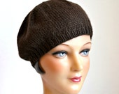 Women's Knit Beret - Hand Knitted Beret - Brown Knit Beret - READY TO SHIP via 3 Day Priority