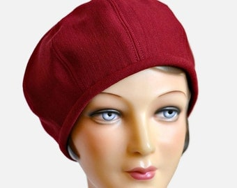 Beret Hat in Dark Red Vintage Wool - Women's Beret - Wool Beret - Made to Order - 3 WEEKS for Shipping