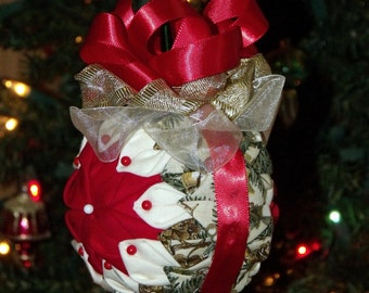 "Hand Made Quilted 5"" Christmas Ball Ornament - Home Decor - Tree Decor - Folk Art - Tree Ornament - Quilted - Holiday Decor - Hand Made"