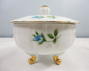 Vintage Blue Floral Footed and Lidded Bone China Dish