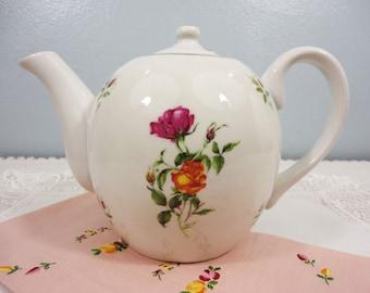 Rare Czechoslovakia Royal Dux Bohemia Porcelain Tea Pot - Simple Floral Design