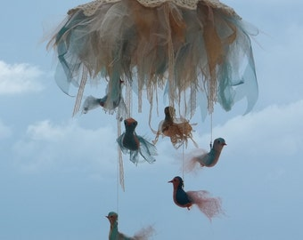 Baby Nursery Mobile Made to Order birds lace tulle FediBird
