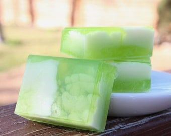 Handmade  Olive Oil, Aloe, and Shea Butter Soap - Citrus Basil Soap // Gifts for Her
