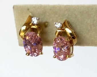Pink Cubic Zirconia and Rhinestone Vintage Clip Style Gold Tone Earrings