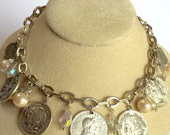 Vintage Silver Coin Necklace - Coin Necklace Pearl Crystal Accents Silver Tone