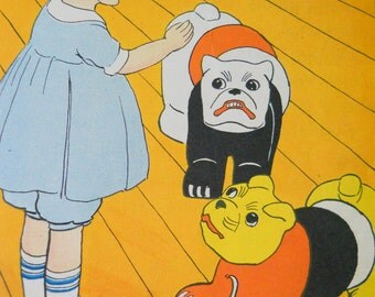 Vintage Children's Book Illustrations • Art Print Dogs Book Pages 1920s • 1929 Twistum Tales Illustrated Book 3 Pages