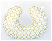 NEW LOWER PRICE!! Boppy Cover  / Zipper closure  /  Golden   cotton  print with soft Flat minky / Great neutral gender baby gift