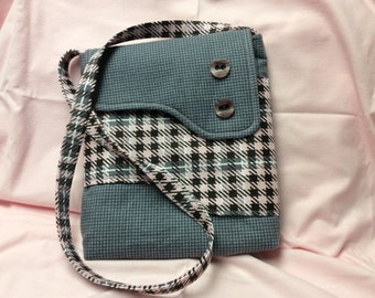 Pink and Gray Flannel Crossbody Purse or IPad Case