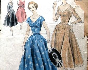 1950s VOGUE Vintage Womens Dress Pattern Evening Dress With V Cut Neckline Sz 12