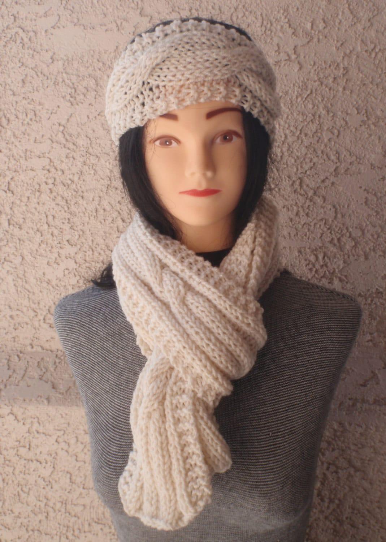 aran scarf and headband set knitted scarf and headband in aran
