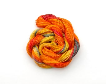 Hand dyed cotton perle 8 embroidery thread, orange, yellow, red, blue grey, space dyed tatting yarn, crochet yarn, 33 yard (30 metre) skein