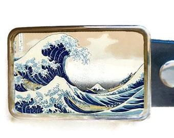 Great Wave Belt Buckle off Kanagawa.  Japanese Art buckle.  Belt buckles for men and women.