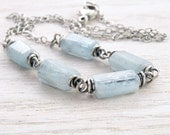 Aquamarine Necklace, March Birthstone, Sterling Silver, Light Blue Faceted Gemstones, Wire Wrapped,  #3885