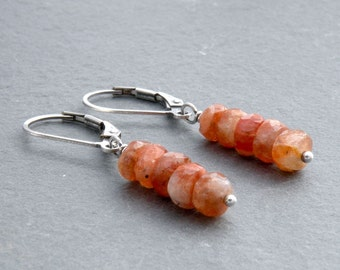 Sunstone Lever Back Dangle Earrings, Orange Gemstone Stack with Sterling Silver, #4704