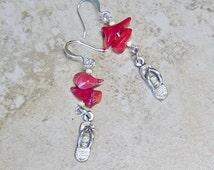 Red Coral Bead Earrings, Flip Flop Charm Earrings, Silver CHarm Earrings,Beach Earrings, Coral Bead Earrings, Summer, Seashore