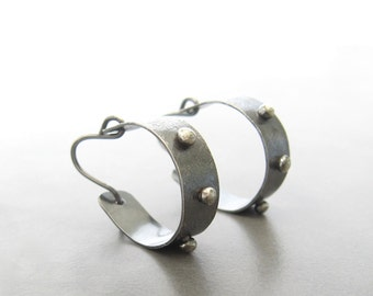modern silver hoop earrings, industrial sterling hoops, metalwork hoop earrings, oxidized silver earrings, handmade silver earrings