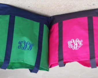 Preppy Color Blocked Tote, - Monogram gifts for Bridesmaids, Graduation, Mother's Day, Birthday, Teachers