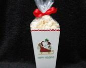 Christmas Popcorn Boxes - Christmas Bear In Sleigh Popcorn Box - Gift Box - Christmas Party Box - Party Favor Box - Set of 10