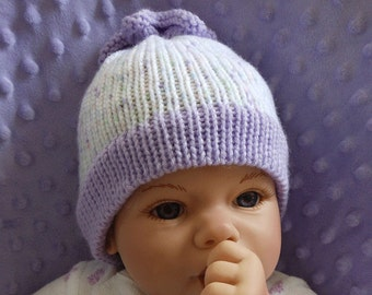 Newborn Knit Hat - Knit Hat for Newborn - Baby Hat - Baby Knit Hat - Shower Gift - Baby Girl Hat - Purple - New Baby Gift - Knitted Hat