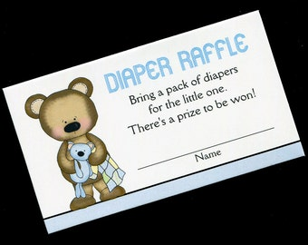 Diaper Raffle Tickets - Diaper Raffle Inserts - Baby Shower Game - Baby Boy - Bear with Quilt - Blue - Set of 25