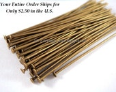 50 Bronze Headpins NF Antique Plated Iron 2 inch, 20-21 Gauge NF - 50 pc - F4001HP-AB50 - Select Qty