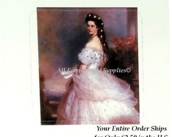 4 Decals Stickers, Portrait of Empress of Austria Cameo Jewelry, Scrapbook, Decoupage, Collage, Altered Art, Mixed Media Supply 38mm, 4 pc